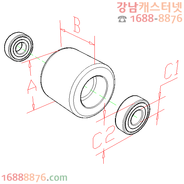 핸드파레트트럭(부품) 휠(포크쪽) 규격도면